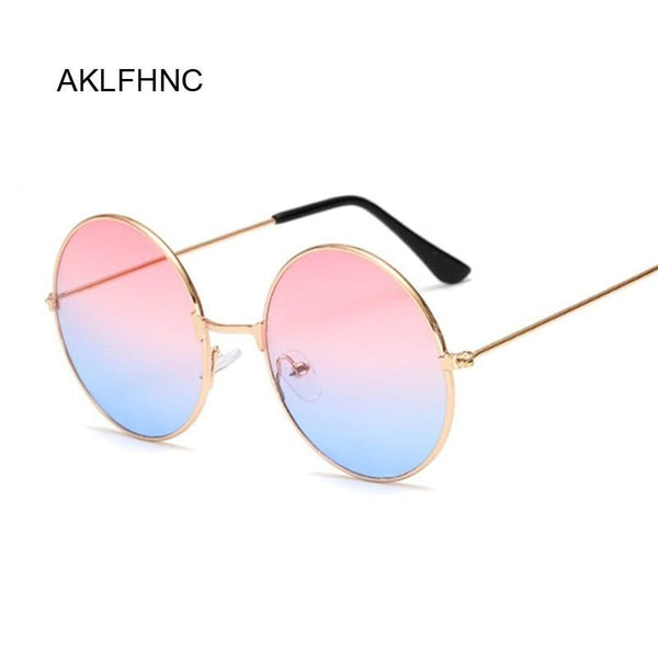 New Candy Vintage Round Mirror Sunglasses Women Luxury Brand Original Design Black Sun Glasses Female