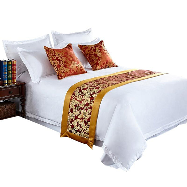 Floral Bedspreads Bed Runner Throw Bedding Bed Bottom Cloth Cover Towel Home Hotel Living Room Decoration Gold Edge Cloth Craft