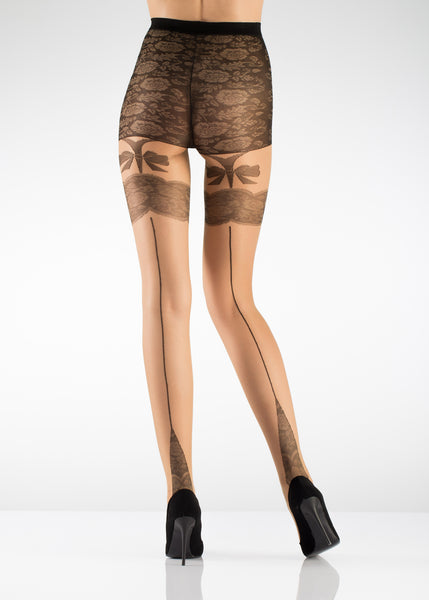 Bow Backseam Fashion Pantyhose