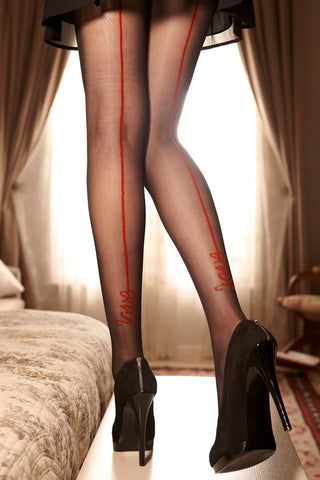 Love Print back seam Patterned Tights
