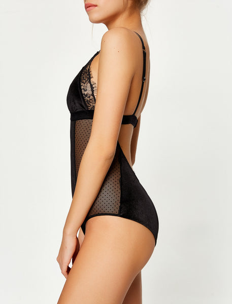Allover Lace & Velvet Detailed Bodysuit by Koton