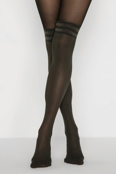Forest Green Sparkle Knee High Tights