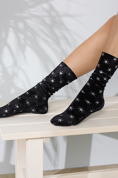 Black Velvet Silver Star Socks