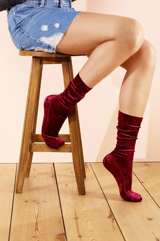 Burgundy Velvet Socks