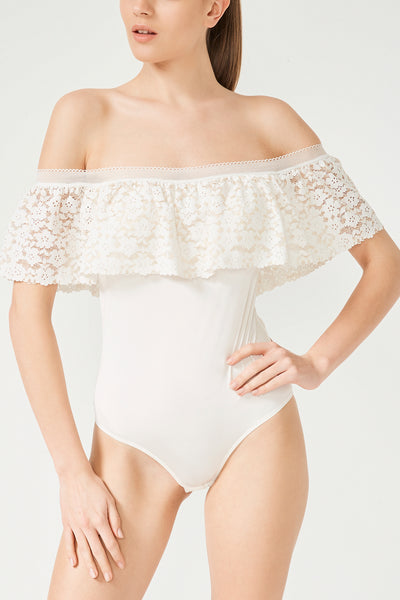 Lace Frill Strapless Bodysuit