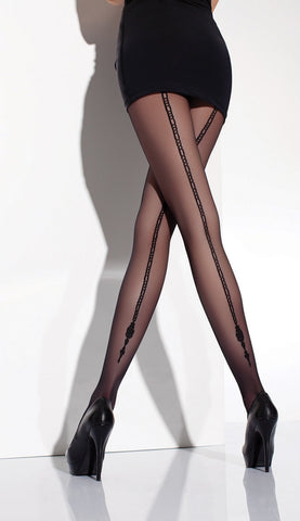 Amber Chain Back Seam Patterned Tights