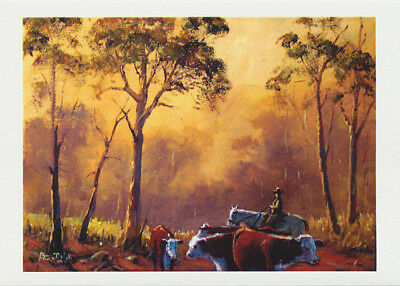 Resting the herefords under the sahde of gum trees back of Bourke by Australian artist peter Hill. Published as a card by Cloud Publishing