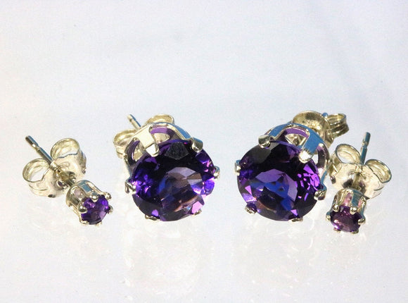 Amethyst 8mm grade AAA gemstones set in 8mm sterling silver studs with butterfly clasps