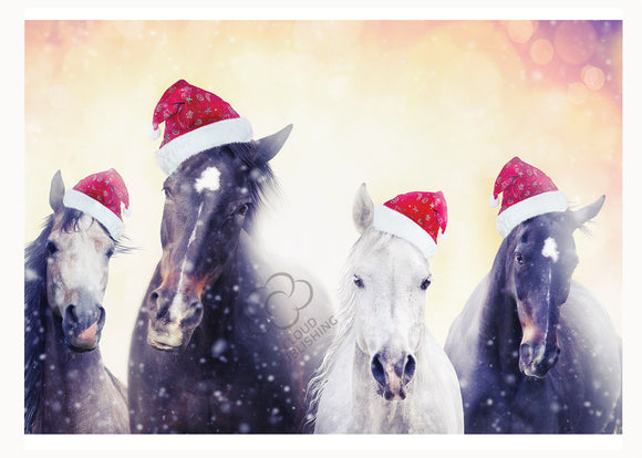 Christmas card of horses with Santa hats published by Cloud Publishing