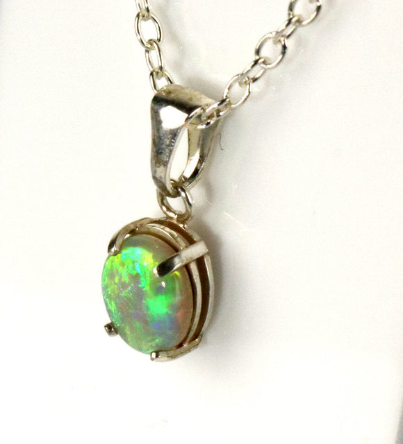 Dark Crystal green pastel opal sterling silver pendant necklace