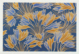 Yellow and blue Crocus flower pattern by Australian artist Nancy Soultanian and published as a card by Cloud Publishing
