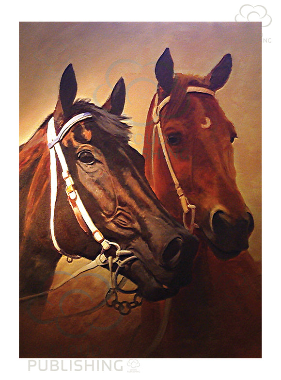 Horse racing greeting card with Black Cavier and Phar Lap by artist Peter Hill and published by Cloud Publishing