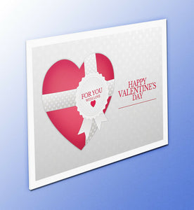 A red heart wrapped with a ribbon and anote For You with Love from Cloud Publishing