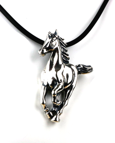 Galloping Horse Sterling Silver Pendant & Cord