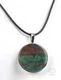 Sonora Chrysocolla 30mm round sterling silver pendant