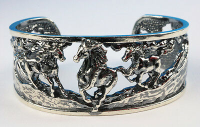 Horse sterling silver thick cuff bracelet with running horses