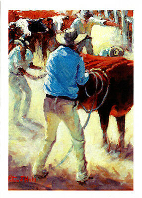 Greeting card of Wranglers at work bronco branding by PJ Hill and published by Cloud Publishing