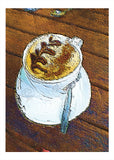 Coffee cup greeting card illustration by Tony Brindley