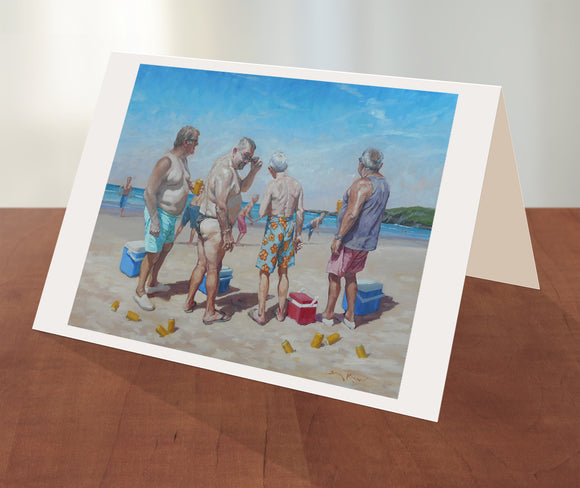 Beach cricket greeting card from an original painting by Sima Kokaev and published by Cloud Publishing