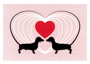 Dachshund sausage dog love greeting card by Sally Pryor