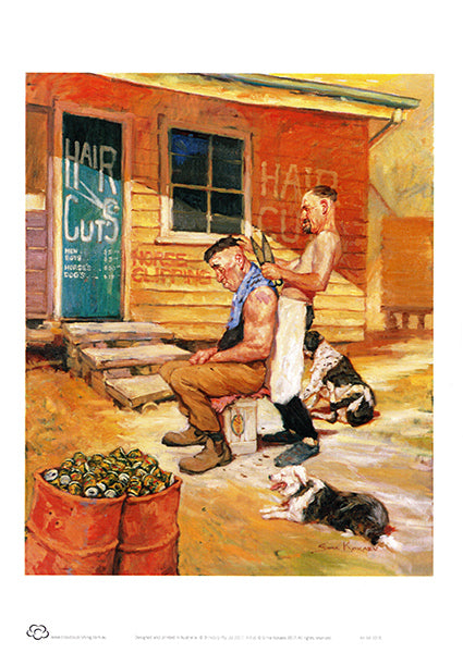 An Australian shearer giving a haircut in front of the shed with a pair of hand sheares. A couple of 44 gallon drum s full of empty tinnies and a dogs laying around. True Australiana by Australian artist Sima Kokaev and published by Cloud Publishing