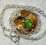 Green black opal crystal Sterling Silver Pendant and Chain from Australia