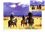 Cowboys viewing the mob of cattle in central Queensland by Australian artist Peter Hill and published as a n A3 print by Cloud Publishing