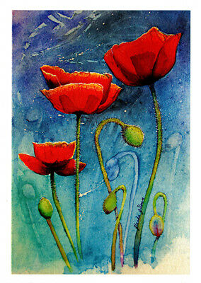 Red poppies greeting card from watercolour by artist Glenda Gilmore