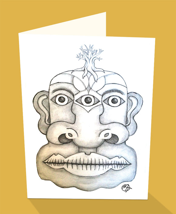 Three eyed face greeting card with the extra eye set between the bridge of teh nose by UK artist Matt Tanner and published by Cloud Publishing