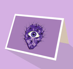 Purple cacti greeting card with an eye ball from Cloud Publishing