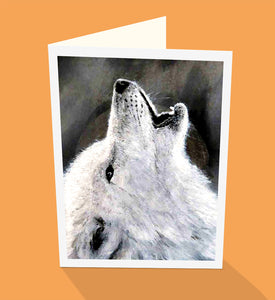 Howling white wolf greeting card by Emma Harris published by Cloud Publishing