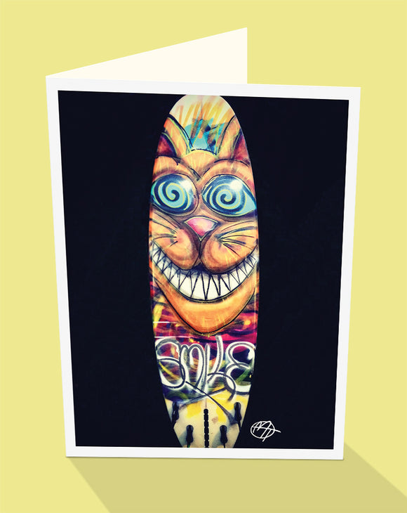 Smiling Surf Board street art greeting card by Matt Tanner published by Cloud Publishing