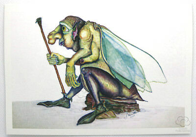 Beetle man resting with walking staff greeting card by Jon Howarth published by Cloud Publishing