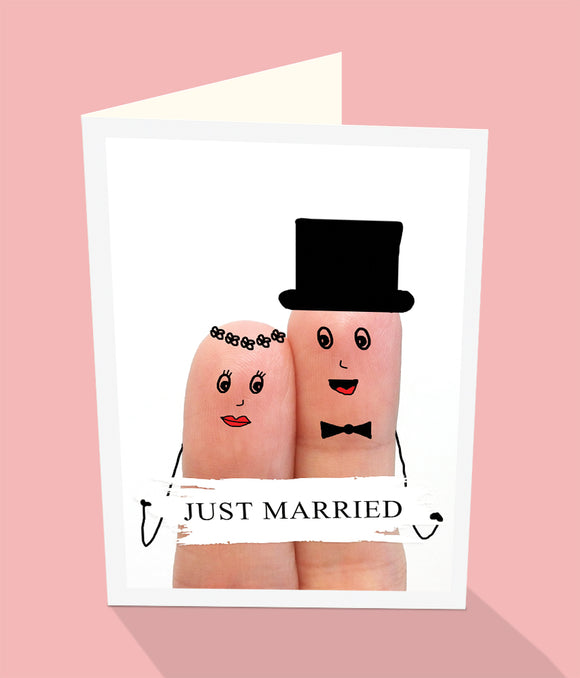 Just Married male female drawn on fingers wedding card.