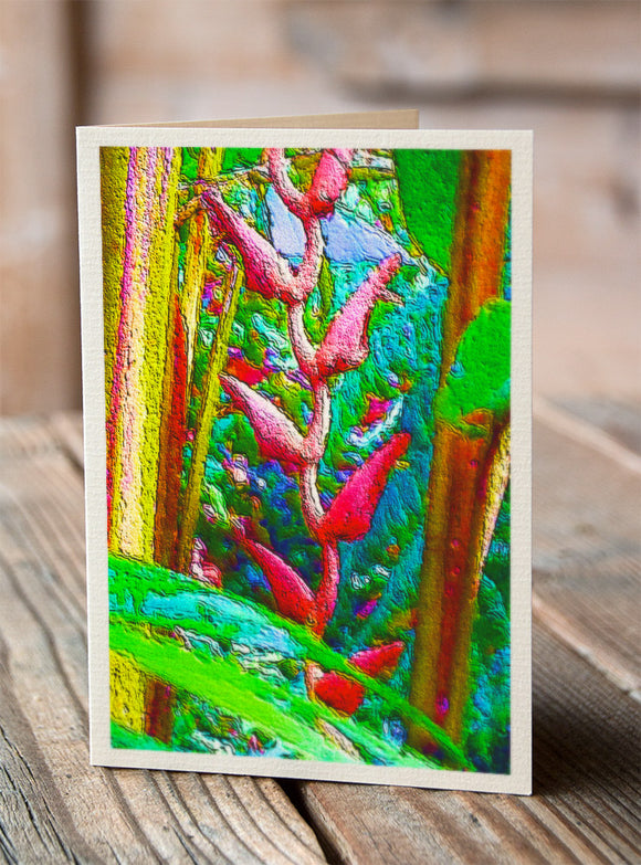 Red hanging heliconia greeting card illustralin by Asutralian artist Tony Brindley and published by Cloud Publishing
