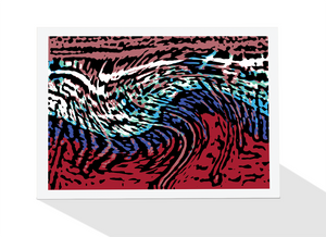 Abstract waves on the beach by artist Tony brindley and published as a greeting card by Cloud Publishing