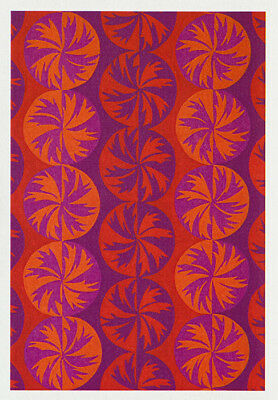 greeting card of palm trees using palm leaves in a repetitive circular design. Done in water colours artist Nancy Soultanian  replicates bands of colour in red, orange and purples.
