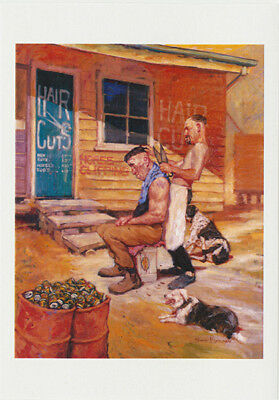 Australiana outback barber greeting card shearing with shears for haircuts