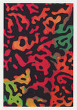 abstract woodcut style design greeting card using reds, greens oranges and black in a woodcut style. By Autralian artist Tony Brindley and published by Cloud Publishing