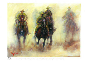 Australian Light Horsemen A4 decor print of Battle Charge by Peter Hill and published by Cloud Publishing