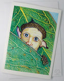 Australian bush creature greeting card hiding behind gum leaves by Jon Howarth and published by Cloud Publishing