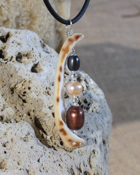 freshwater pearl and shell sterling silver pendant necklace from Cloud Publishing