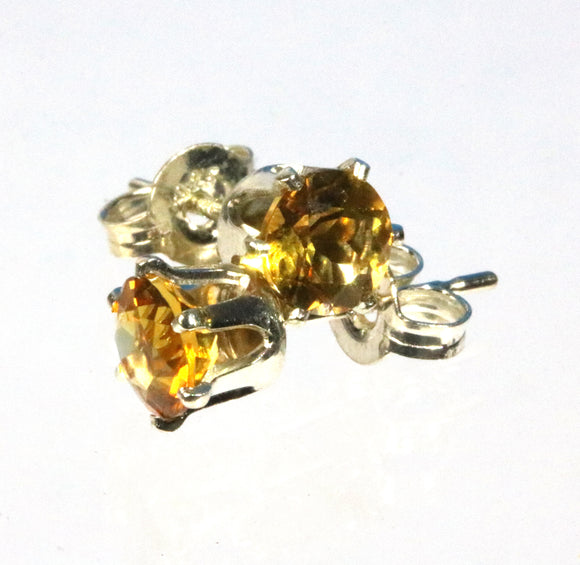 Golden Citrine 5mm sterling silver stud earrings