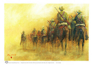 Australian Light Horse Mounted Column A4 unframed print by Peter Hill