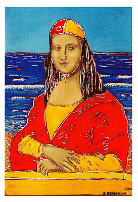 Surf life saving Mona Lisa greeting card by artist Janet Besancon
