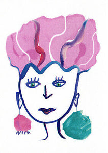 Pink Hair greeting card by Sally Pryor and published by Cloud Publishing