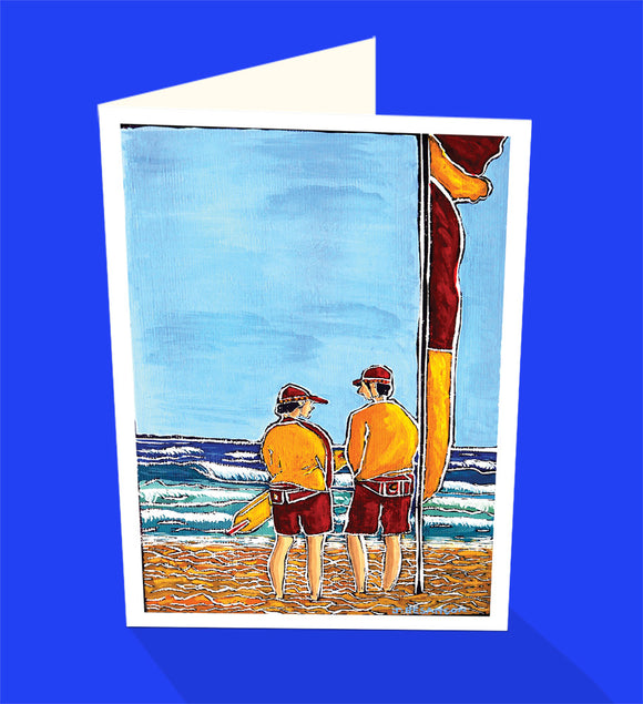 Surf life savers on patrol swim standing between the flags. An iconic greeting card from Cloud Publishing
