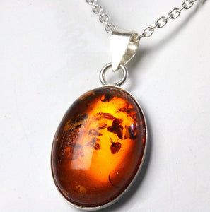 Amber Sterling silver pendant necklace