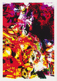 Red yellow black in a fluid state just like someone threw the wine. Abstract greeting card by Australian artist Tony Brindley