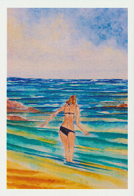 Greeting card of a bikini girl on the beach from an original watercolour by Nancy Soultani